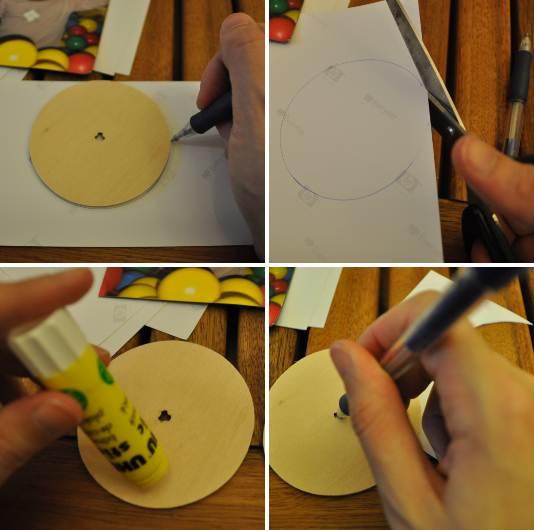 מסמנים עיגול על גבי הנייר, גוזרים, מסמנים את מרכז העיגול ומדביקים